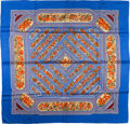 "Luxury Accessories:Accessories, Hermes Blue & Orange ""Qalamdan,"" by Catherine Baschet SilkScarf. ..."