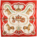 "Luxury Accessories:Accessories, Hermes Red & White ""Paperoles,"" by Claudia Stuhlhofer Mayr Silk Scarf. ..."