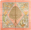 "Luxury Accessories:Accessories, Hermes Peach & Green ""Axis Mundi,"" by Christine Henry Silk Scarf. ..."