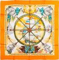 """Luxury Accessories:Accessories, Hermes Orange & White """"Vive le Vent,"""" by Laurence Thioune Silk Scarf. ..."""