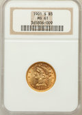 Liberty Half Eagles: , 1901-S $5 MS61 NGC. NGC Census: (1168/4873). PCGS Population(672/4033). Mintage: 3,648,000. Numismedia Wsl. Price for prob...