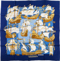 "Luxury Accessories:Accessories, Hermes Navy & Gold ""Armada,"" by Christiane Vauzelles SilkScarf. ..."