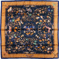 "Luxury Accessories:Accessories, Hermes Gold & Navy ""Pierres d'Orient et d'Occident,"" by ZoePauwels Silk Scarf. ..."