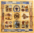 """Luxury Accessories:Accessories, Hermes Gold """"Persona,"""" by Loic Dubigeon Silk Scarf. ..."""