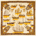 "Luxury Accessories:Accessories, Hermes Cream & Gold ""Jonques et Sampans,"" by Francoise de laPerriere Silk Scarf. ..."
