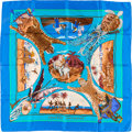 "Luxury Accessories:Accessories, Hermes Blue & Turquoise ""Chasses Exotiques,"" by Philippe LedouxSilk Scarf. ..."