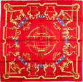 "Luxury Accessories:Accessories, Hermes Red & Gold ""Mors et Gourmettes,"" by Henri d'Origny SilkScarf. ..."