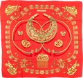 "Luxury Accessories:Accessories, Hermes Red & Gold ""Cavaliers d'Or,"" by Vladimir RybaltchenkoSilk Scarf. ..."