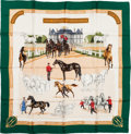 "Luxury Accessories:Accessories, Hermes Green, White & Tan ""Les Haras Nationaux,"" by Hubert deWatrigant Silk Scarf. ..."