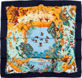 "Luxury Accessories:Accessories, Hermes Navy & Orange ""Africa,"" by Robert Dallet Silk Scarf. ..."