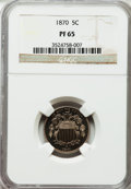 Proof Shield Nickels: , 1870 5C PR65 NGC. NGC Census: (65/15). PCGS Population (84/5).Mintage: 1,000. Numismedia Wsl. Price for problem free NGC/P...