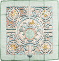 "Luxury Accessories:Accessories, Hermes Mint & Light Blue ""Peintre du Cheval,"" by Alfred DeDreuxSilk Scarf. ..."