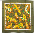 """Luxury Accessories:Accessories, Hermes Olive & Yellow """"Cols Verts,"""" by Christiane Vauzelles Silk Scarf. ..."""