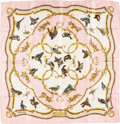 "Luxury Accessories:Accessories, Hermes Pink, White & Gold ""La Cle des Champs,"" by FrancoiseFaconnet Silk Jacquard Weave Scarf. ..."