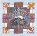 "Luxury Accessories:Accessories, Hermes Light Blue & Purple ""Le Tarot,"" by Annie Faivre SilkScarf. ..."