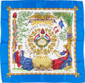 "Luxury Accessories:Accessories, Hermes Blue, White & Gold ""1789 Liberte, Egalite, Fraternite,""by Joachim Metz Silk Scarf. ..."
