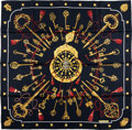 "Luxury Accessories:Accessories, Hermes Black & Gold ""Les Cles,"" by Caty Latham Silk Scarf. ..."