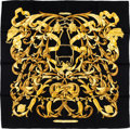 "Luxury Accessories:Accessories, Hermes Black & Gold ""Le Mors a la Conetable,"" by Henri d'OrignySilk Scarf. ..."