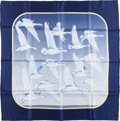"""Luxury Accessories:Accessories, Hermes Navy & Gray """"Oiseaux Migrateurs,"""" by Caty Latham Silk Scarf. ..."""