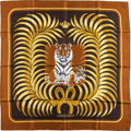 """Luxury Accessories:Accessories, Hermes Brown & Gold """"Tigre Royal,"""" by Christiane Vauzelles Silk Scarf. ..."""