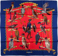"Luxury Accessories:Accessories, Hermes Navy, Red & Gold ""Les Oiseaux du Roy,"" Caty Latham SilkScarf. ..."