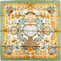 "Luxury Accessories:Accessories, Hermes Mint, Gold & White ""Decoupages,"" by Anne Rosat SilkScarf. ..."