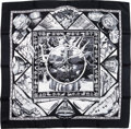 "Luxury Accessories:Accessories, Hermes Black & White ""Au Son du Tam Tam,"" by LaurenceBourthoumieux Silk Scarf. ..."