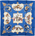 "Luxury Accessories:Accessories, Hermes Blue & Cream ""Les Chevaux des Moghols,"" by Jean deFougerolle Silk Scarf. ..."