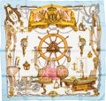 "Luxury Accessories:Accessories, Hermes Gold, White & Light Blue ""Musee,"" by Philippe LedouxSilk Scarf. ..."