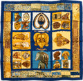 "Luxury Accessories:Accessories, Hermes Blue & Gold ""Persona,"" by Loic Dubigeon Silk Scarf. ..."