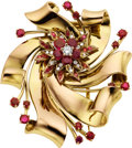 Estate Jewelry:Brooches - Pins, Retro Ruby, Diamond, Gold Brooch, Tiffany & Co.. ...