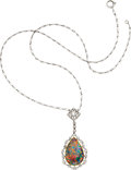 Estate Jewelry:Necklaces, Edwardian Black Opal, Diamond, Platinum, Gold Necklace, J.E.Caldwell & Co.. ...