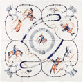 "Luxury Accessories:Accessories, Hermes White & Navy ""Pampa,"" by Jean de Fougerolle Silk Scarf...."