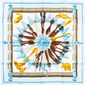 "Luxury Accessories:Accessories, Hermes Light Blue & White ""Cuillers d'Afrique,"" by Caty Latham Silk Scarf. ..."