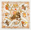 """Luxury Accessories:Accessories, Hermes White & Cream """"Les Petits Princes,"""" by Catherine Baschet Silk Scarf. ..."""