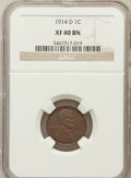 Lincoln Cents: , 1914-D 1C XF40 NGC. NGC Census: (160/645). PCGS Population(371/843). Mintage: 1,193,000. Numismedia Wsl. Price for problem...