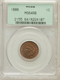 Indian Cents: , 1886 1C Type One MS64 Red and Brown PCGS. PCGS Population (139/47).NGC Census: (96/57). Mintage: 17,654,290. Numismedia Ws...