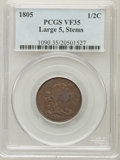 Half Cents: , 1805 1/2 C Large 5, Stems VF35 PCGS. PCGS Population (12/44).Numismedia Wsl. Price for problem free NG...