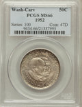 Commemorative Silver: , 1952 50C Washington-Carver MS66 PCGS. PCGS Population (268/7). NGCCensus: (284/15). Mintage: 2,006,292. Numismedia Wsl. Pr...