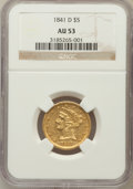 Liberty Half Eagles: , 1841-D $5 Small D AU53 NGC. NGC Census: (9/43). PCGS Population(6/23). Mintage: 29,392. Numismedia Wsl. Price for problem ...