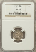 Three Cent Nickels: , 1874 3CN MS63 NGC. NGC Census: (29/79). PCGS Population (46/99).Mintage: 789,300. Numismedia Wsl. Price for problem free N...
