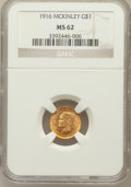 Commemorative Gold: , 1916 G$1 McKinley MS62 NGC. NGC Census: (268/2012). PCGS Population(379/3799). Mintage: 9,977. Numismedia Wsl. Price for p...