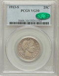 Barber Quarters: , 1913-S 25C VG10 PCGS. CAC. PCGS Population (83/157). NGC Census:(19/59). Mintage: 40,000. Numismedia Wsl. Price for proble...