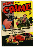 "Golden Age (1938-1955):Crime, Down with Crime #3 Davis Crippen (""D"" Copy) pedigree (Fawcett, 1952) Condition: FN/VF. Used in Parade of Pleasure. Heroi..."