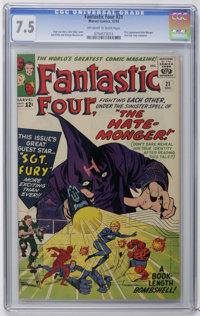 Fantastic Four #21 (Marvel, 1963) CGC VF- 7.5. First appearance of the Hate Monger. First Sgt. Fury crossover. Jack Kirb...