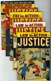 "Justice Comics - Davis Crippen (""D"" Copies) pedigree Group (Atlas, 1948-50). Includes #5 (FN); #6 (FN); #9 (VG..."