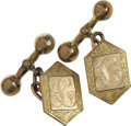 "Movie/TV Memorabilia:Costumes, Lucky Luciano Owned Gold Cufflinks. A pair of gold hexagonalcufflinks (not props), each engraved with a letter ""L,"" owned a...(Total: 1 Item)"