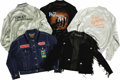 Music Memorabilia:Memorabilia, '80s Artists Tour Jacket Group. Includes a black suede jacket withfringe and silver conchos signed on the collar by Pat Ben...(Total: 5 Item)