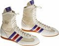 "Movie/TV Memorabilia:Costumes, ""Rocky IV"" Sylvester Stallone Costume Boxing Shoes. A pair of whiteAdidas boxing shoes worn by Stallone in the 1985 sequel ... (Total:1 Item)"