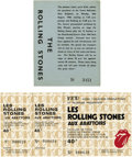 Music Memorabilia:Tickets, Rolling Stones Ticket Group (1964-76). Two unusual and unusedtickets make up this group. First, an advance ticket to a Mon...(Total: 2 Items Item)